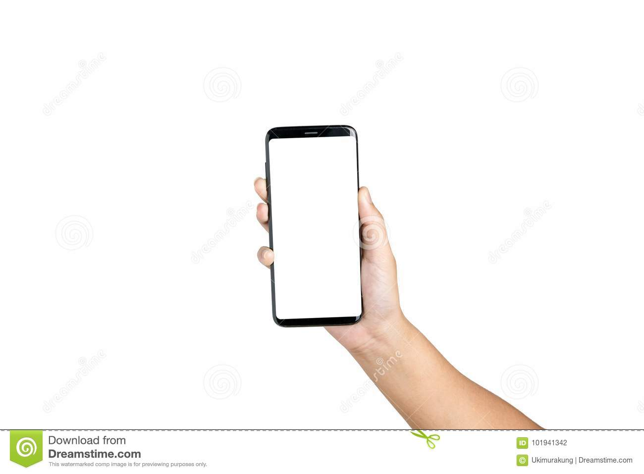 Hand holding show cell phone blank on white screen