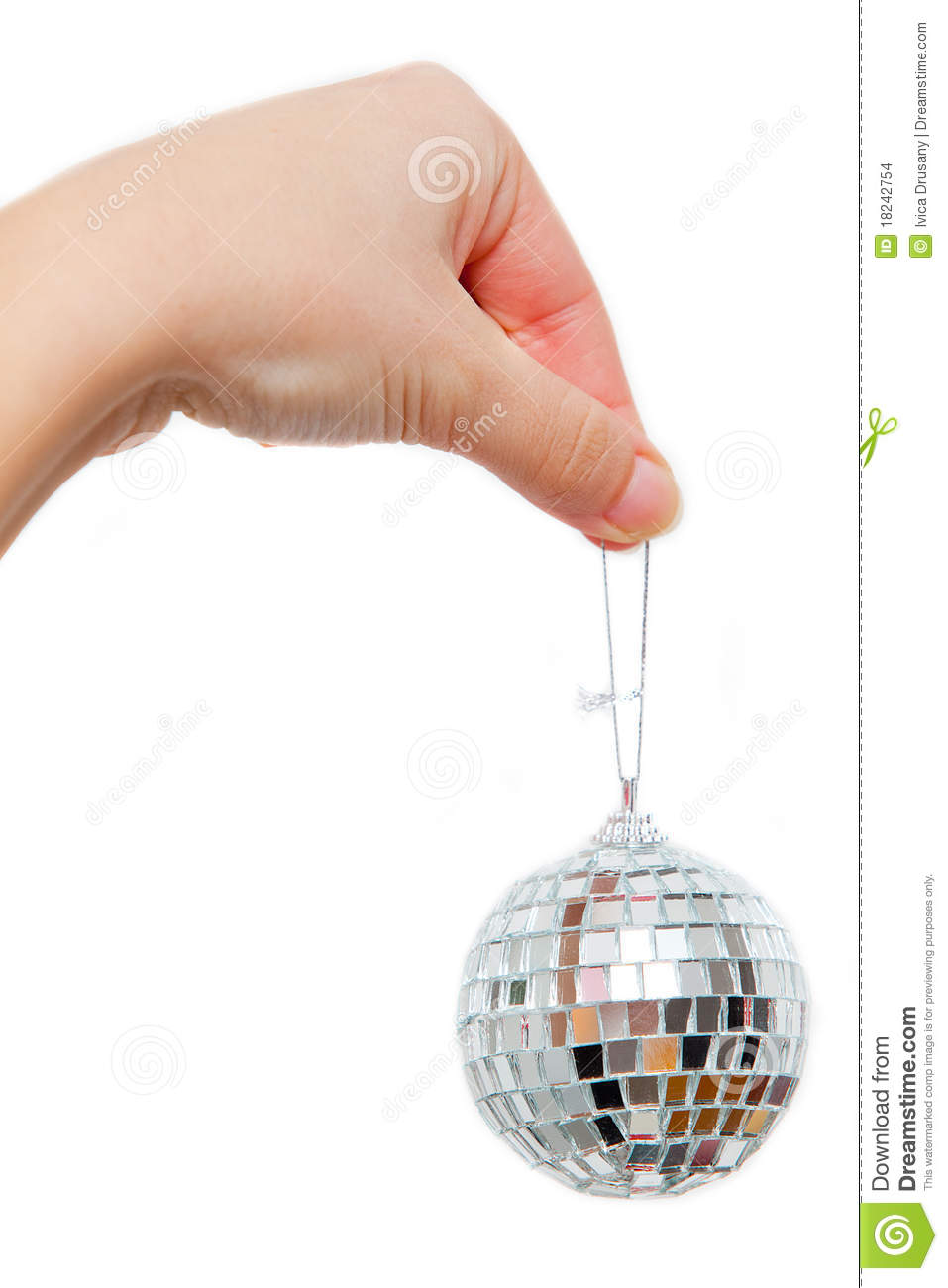 Hand Holding Small Disco Ball On String Stock Images