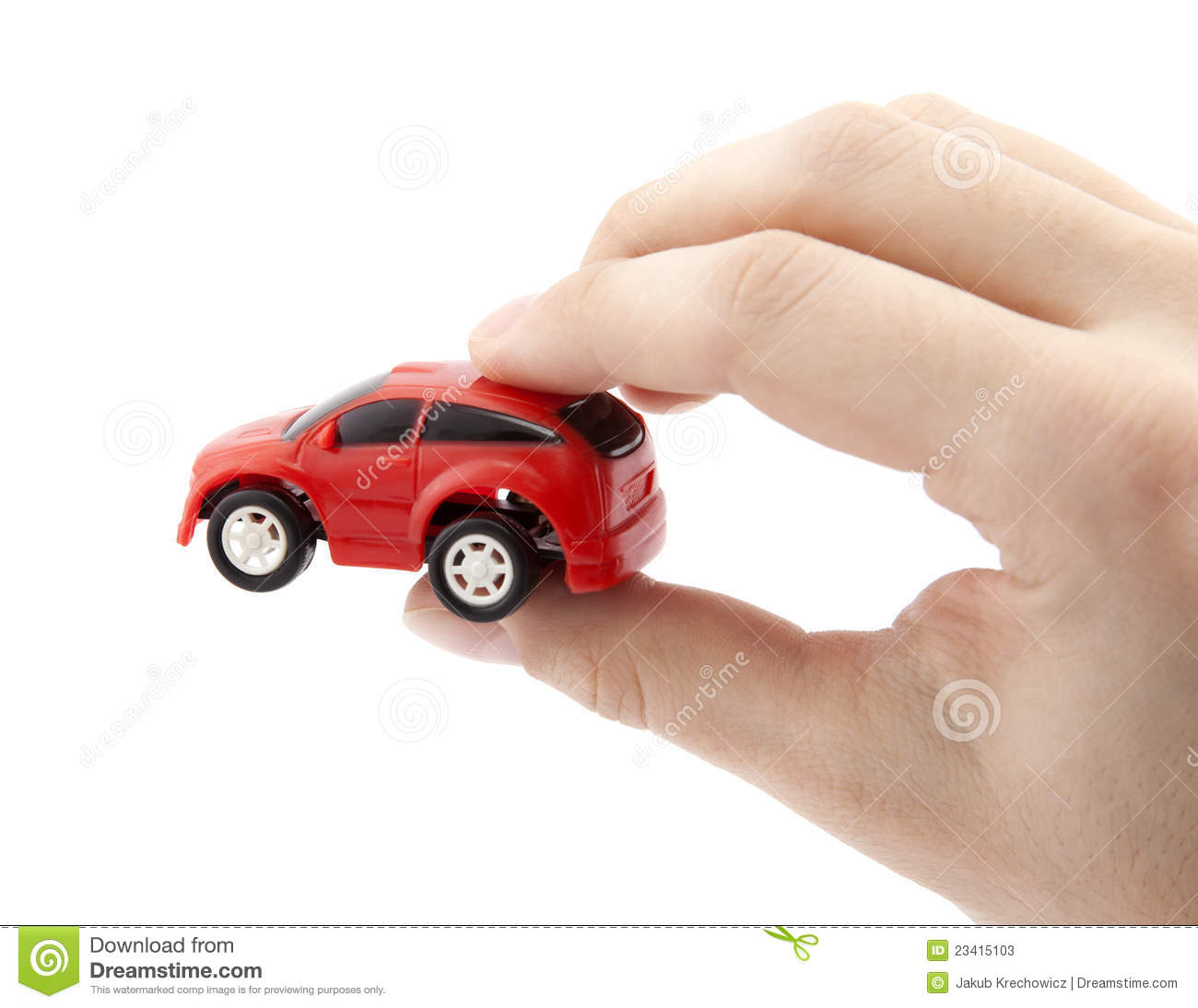 Hand Holding A Small Red Car Stock Photos  Image: 23415103