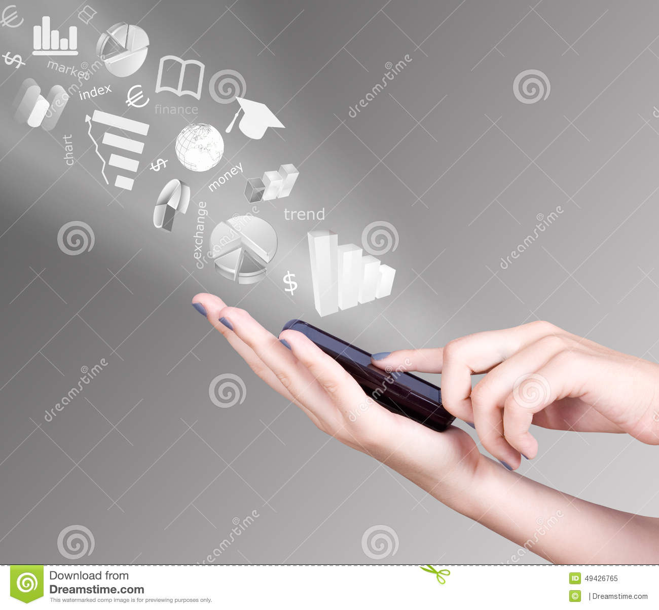 Hand holding smart mobile phone and exchange symbols flying away royalty free stock photo biocorpaavc Images