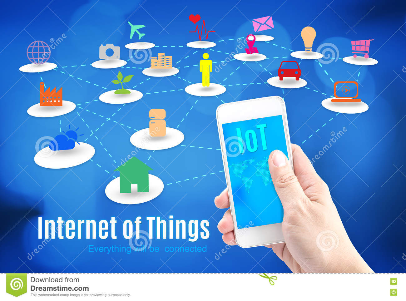 Hand holding smart phone with Internet of things (IoT) word and