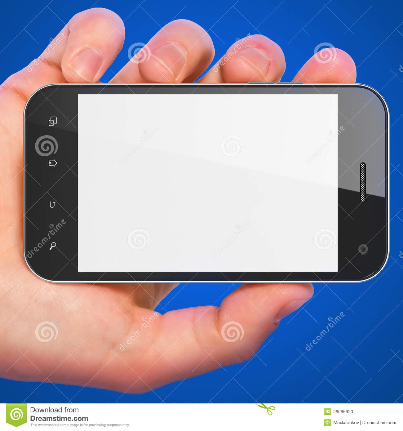 Hand Holding Smartphone On Blue Background. Stock ...