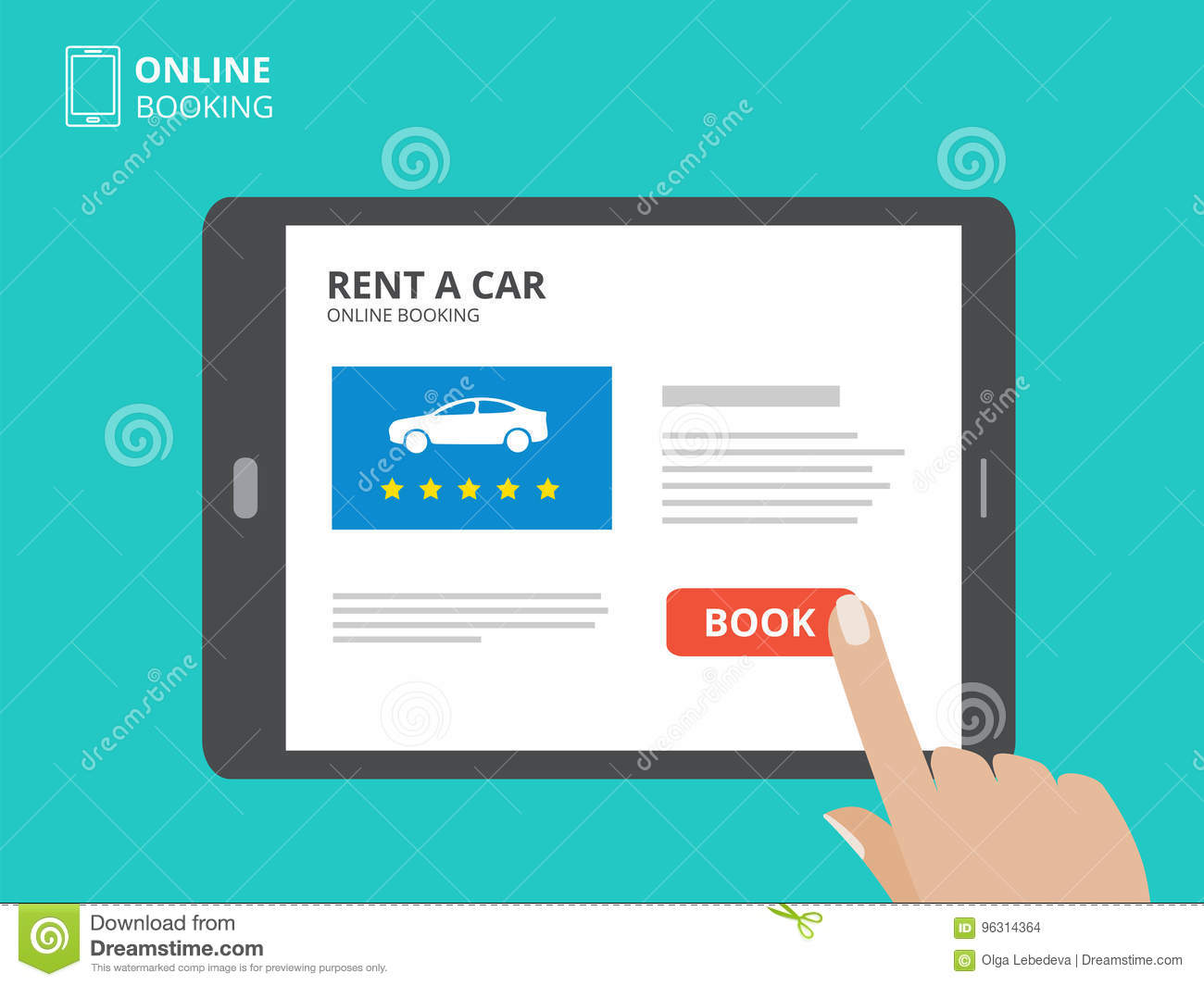 Hand Holding Smartphone With Car Icons And Rent A Car Button On