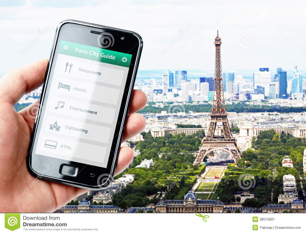 hand holding smartphone with city guide in paris stock image image 38515891. Black Bedroom Furniture Sets. Home Design Ideas