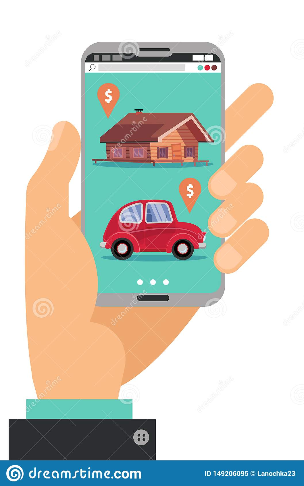 Hand holding smartphone. Concept of hand with mobile phone with realty, car sales marketplace application featuring house and