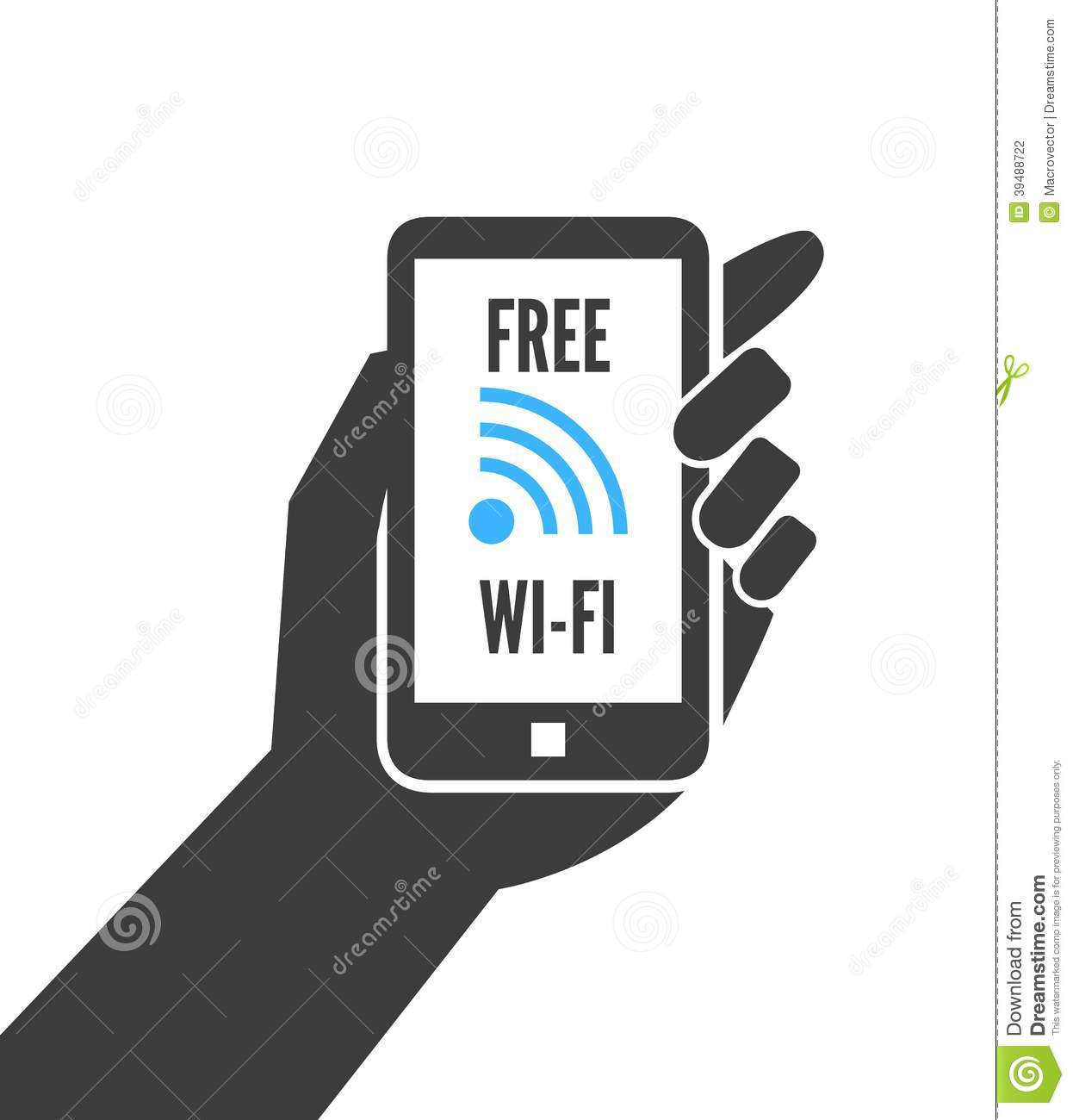 how to get free wifi on iphone holding smartphone with free wifi stock vector 8984