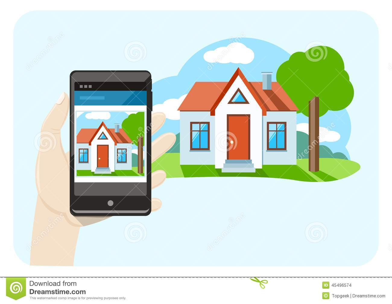 Hand Holding Smartphone With House Sale Offer Stock Vector