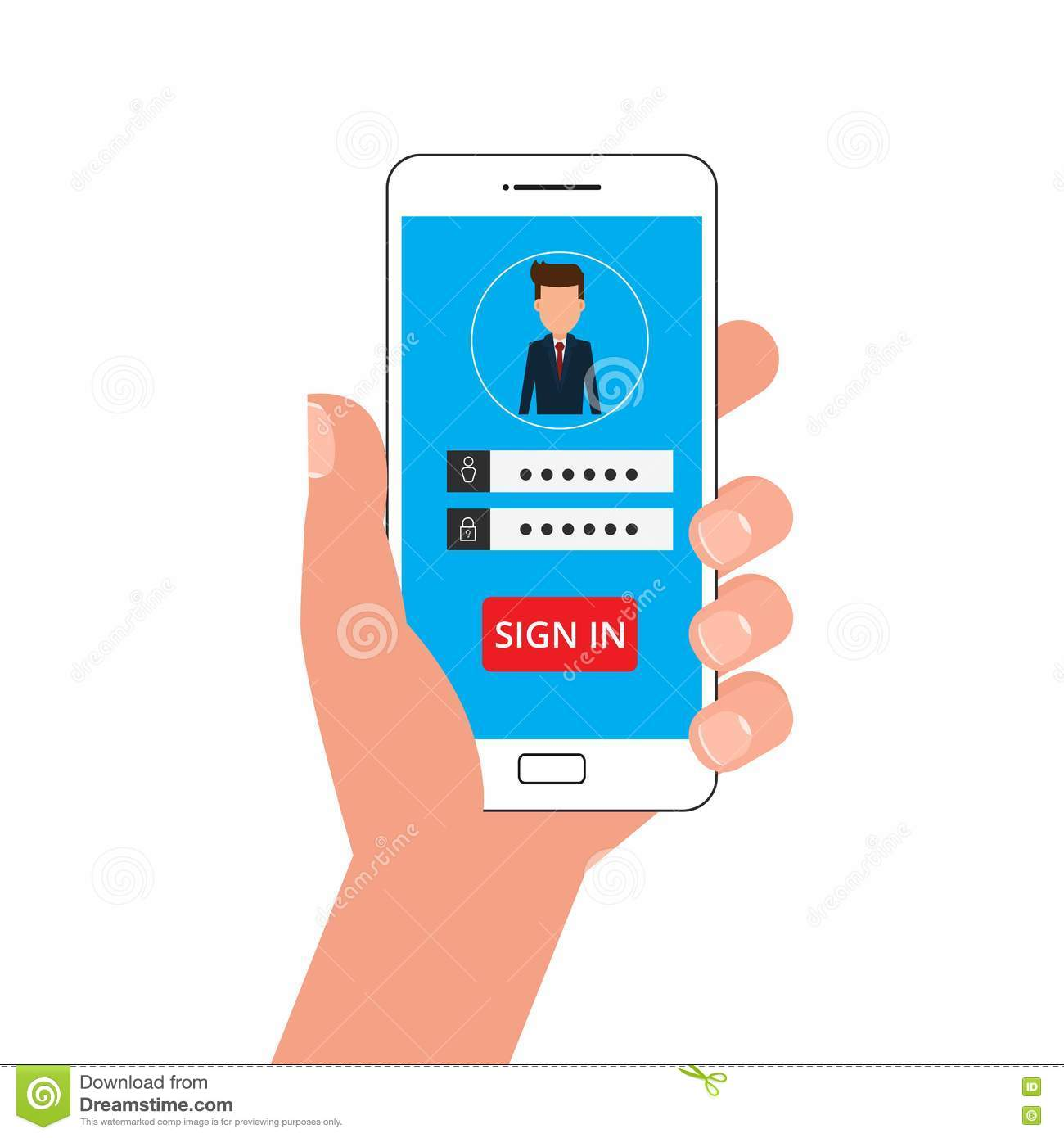 Hand Holding Smartphone  Sign In Page On Smartphone Screen