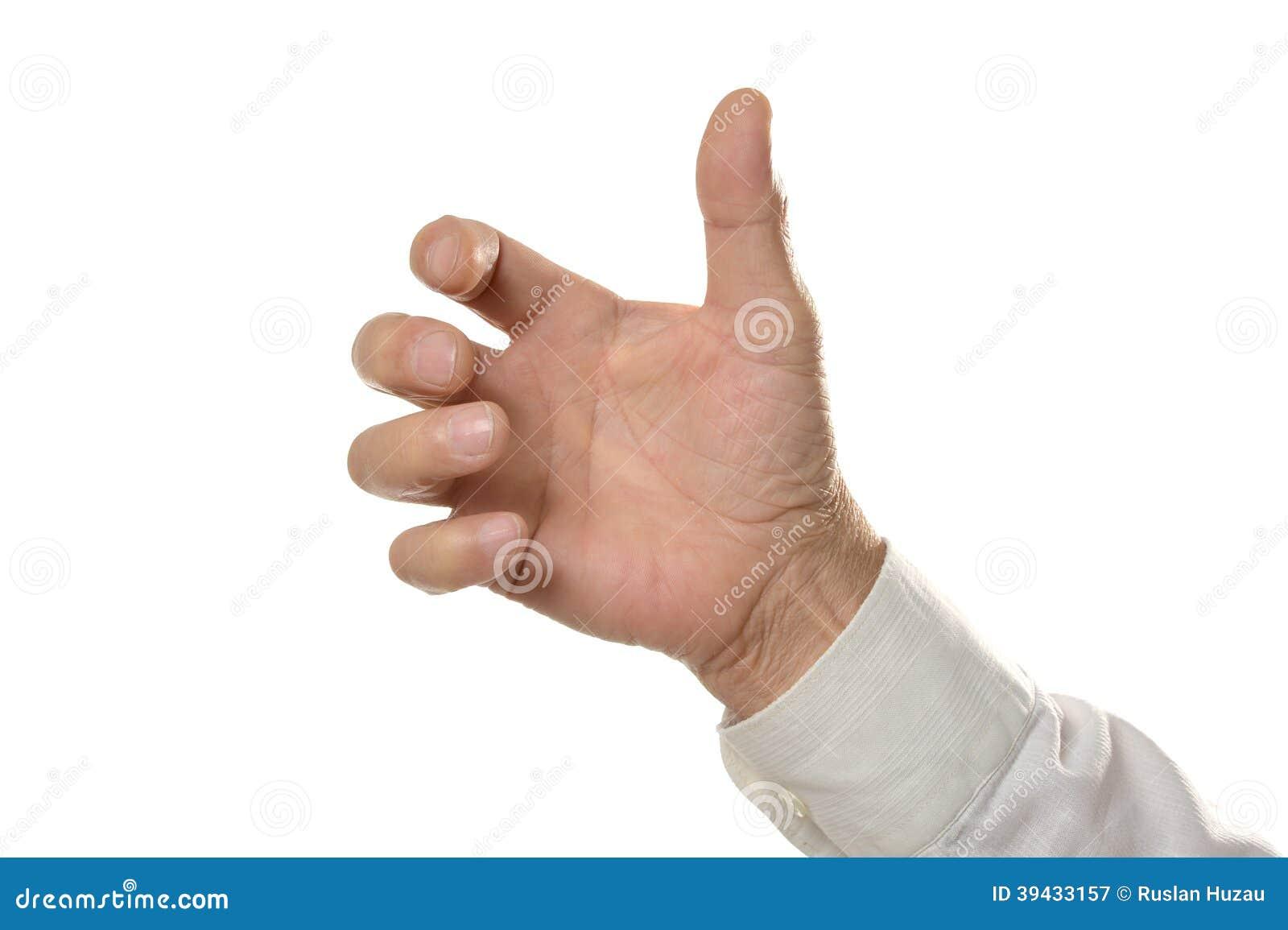 Male Hand holding something isolated on white background.