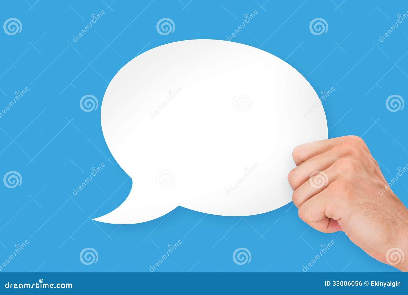 Hand Holding Speech Bubble stock photo. Image of copyspace ...