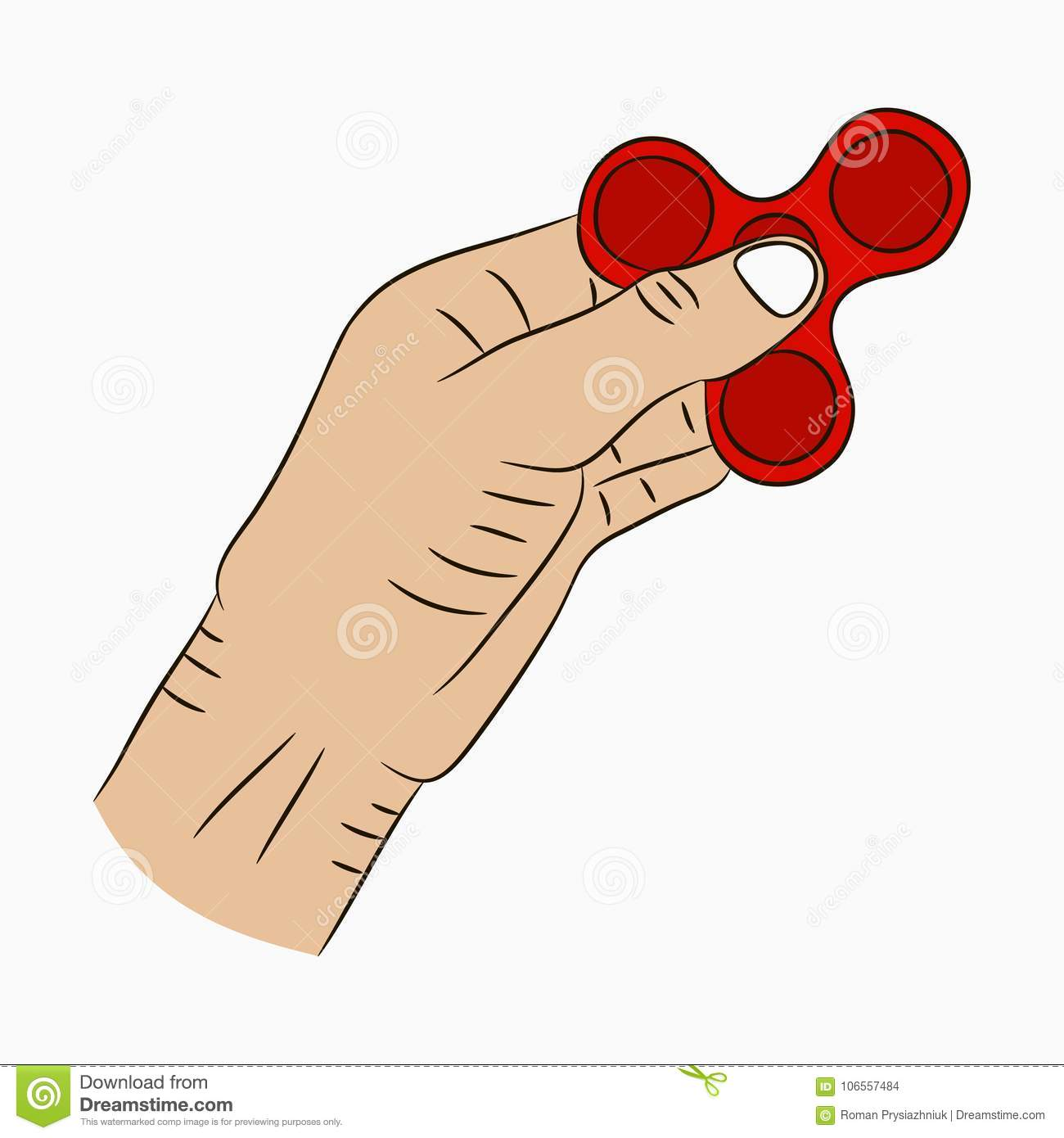 Hand Holding Spinner Drawn Fidget Spinner In Cartoon Style Toy For Increased Focus And Stress Relief Vector Stock Vector Illustration Of Design Increased 106557484