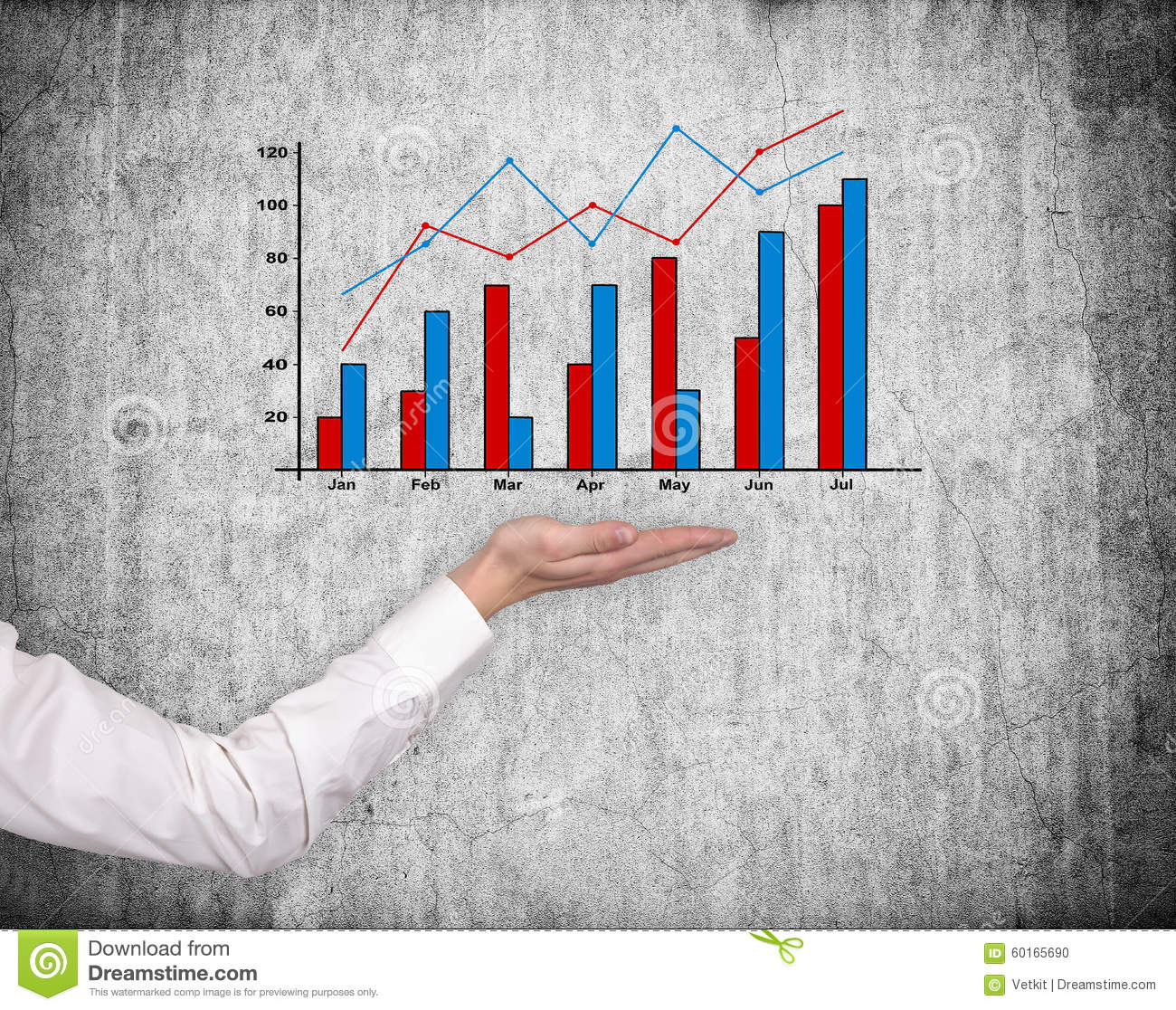Hand holding stock chart
