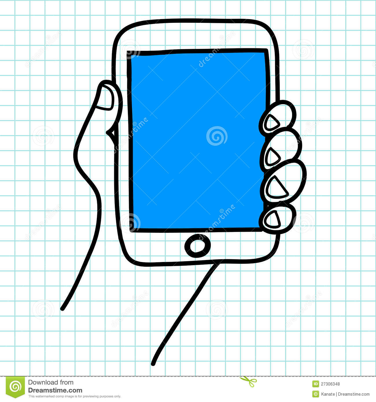Drawing Lines With Tablet : Hand holding a tablet cartoon royalty free stock photos