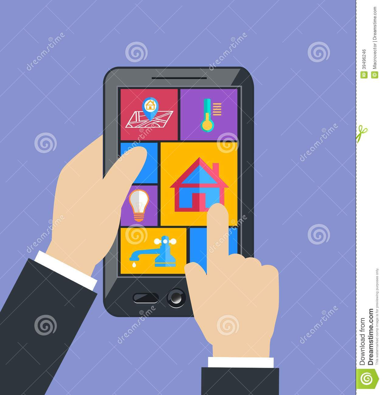 Hand Holding Tablet Controls Smart Home Utilities Stock