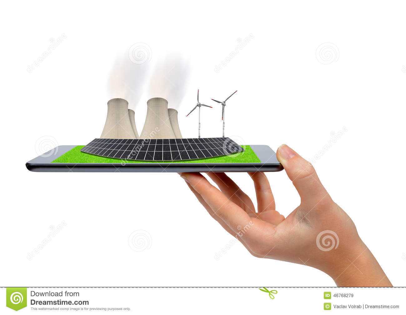 Hand holding tablet with a wind turbines, solar panel and nuclear power plant