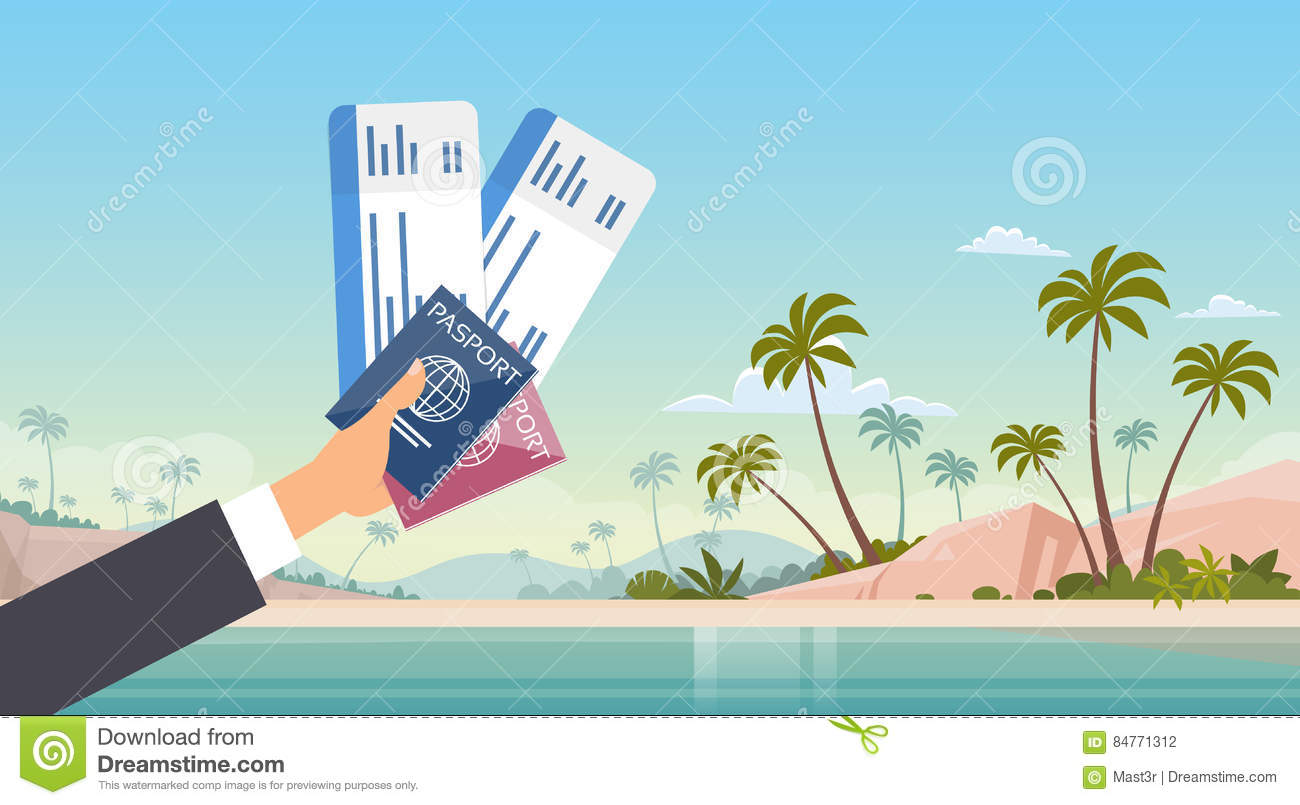 Hand Holding Ticket Boarding Pass Travel Document Seaside Vacation Sea Beach Background