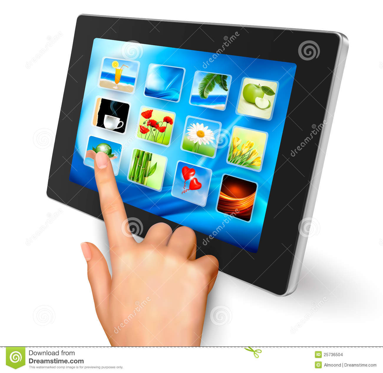 Hand holding touch pad pc and finger