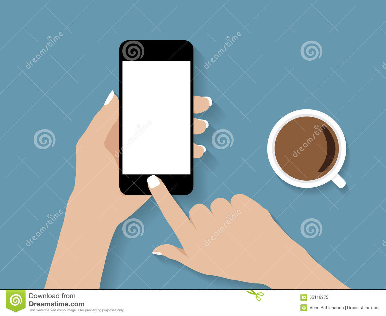 Hand Holding And Touch Phone Vector Stock Vector - Image ...
