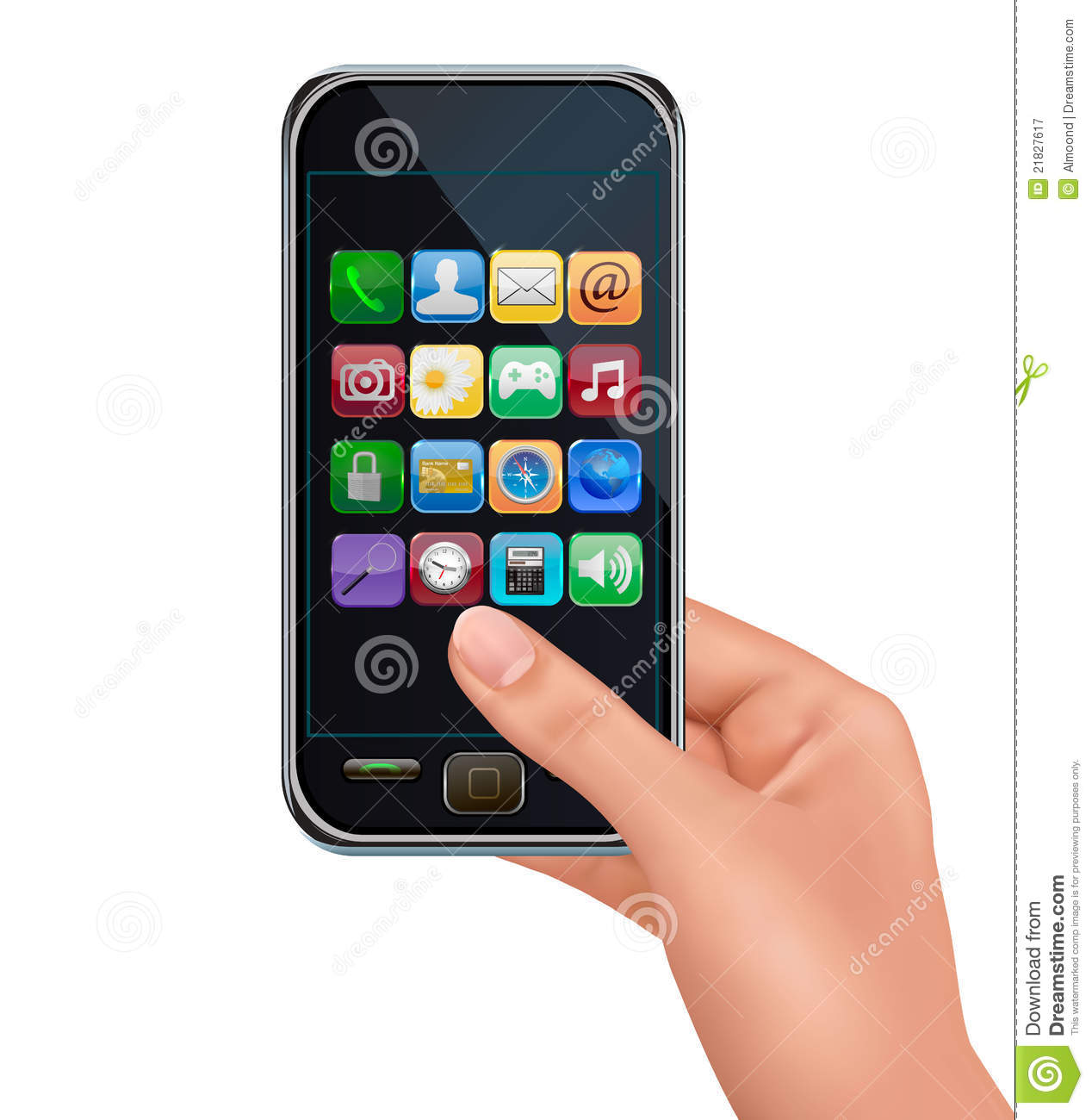 A hand holding touchscreen mobile phone with icons stock for Telephone portable a touches