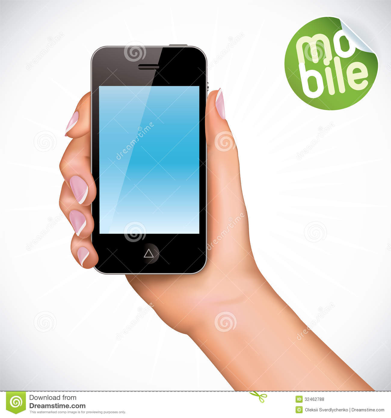 Hand Holding Touchscreen Mobile Phone Illustration Royalty ...