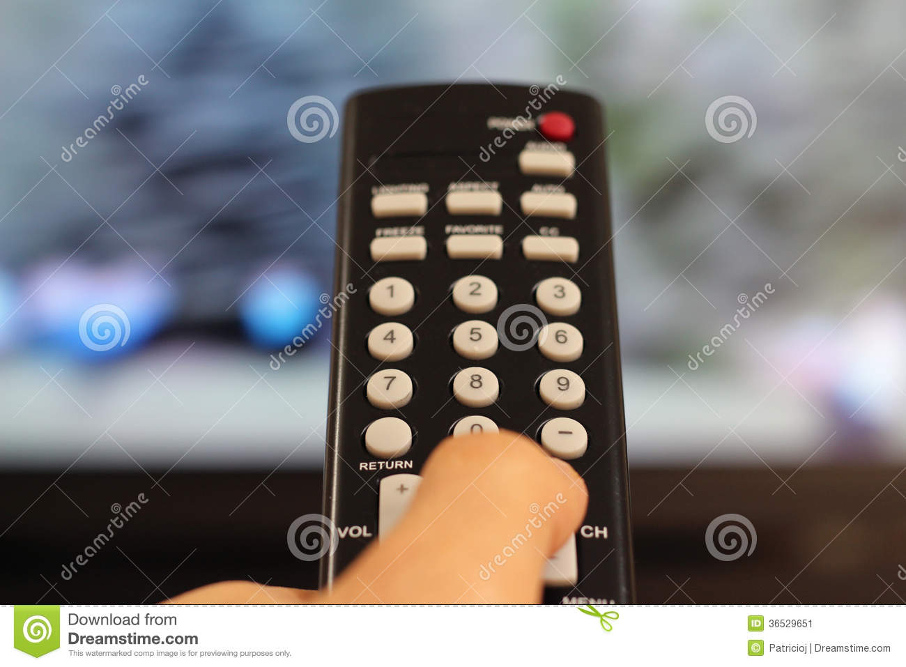 Hand Holding a TV Remote Controller