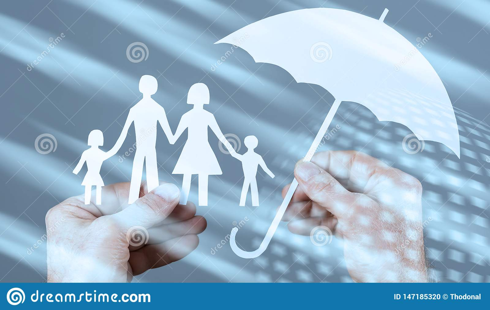 Family protection coverage concept with light effect