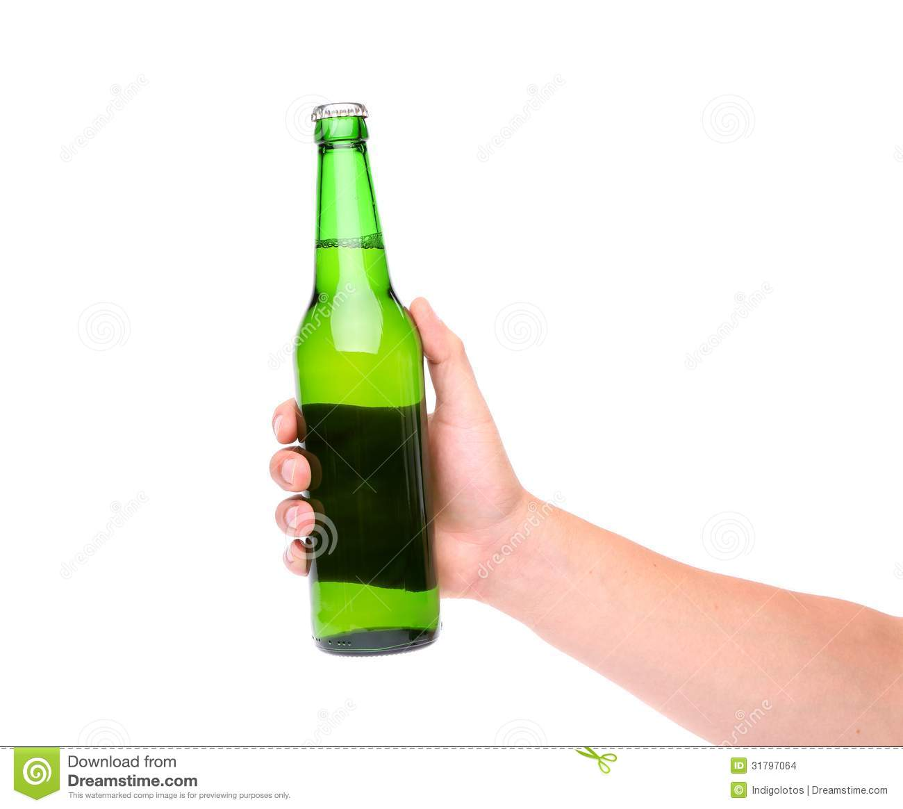 Hand holding up a green beer bottle stock images image 31797064
