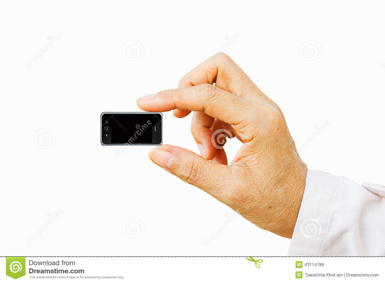 Hand Holding Very Small Mobile Smart Phone With Black