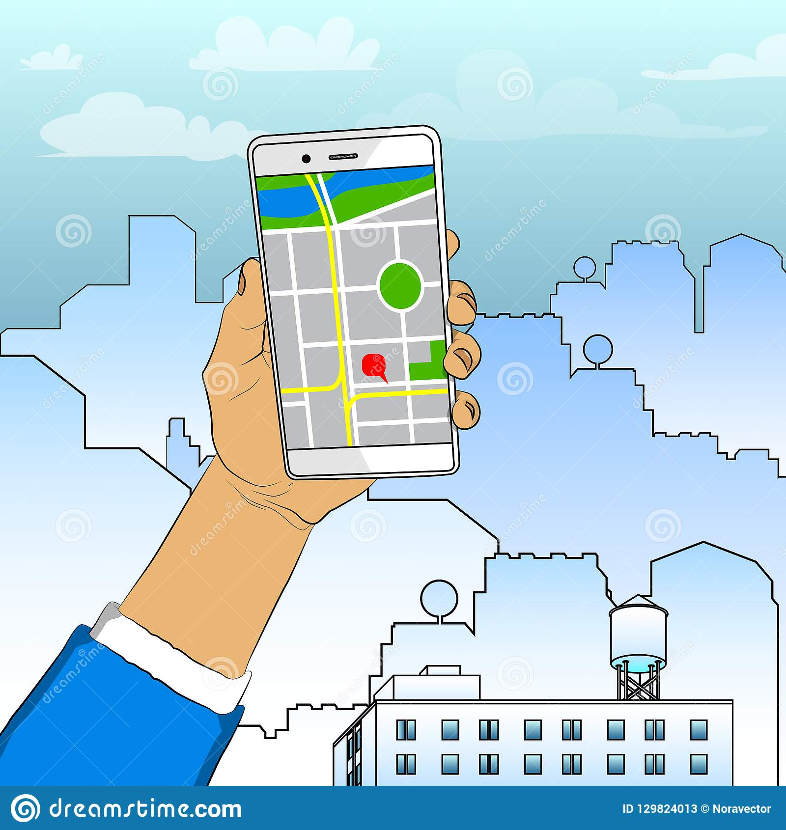 Hand Holding White Cellphone With Map. Stock Vector - Illustration on