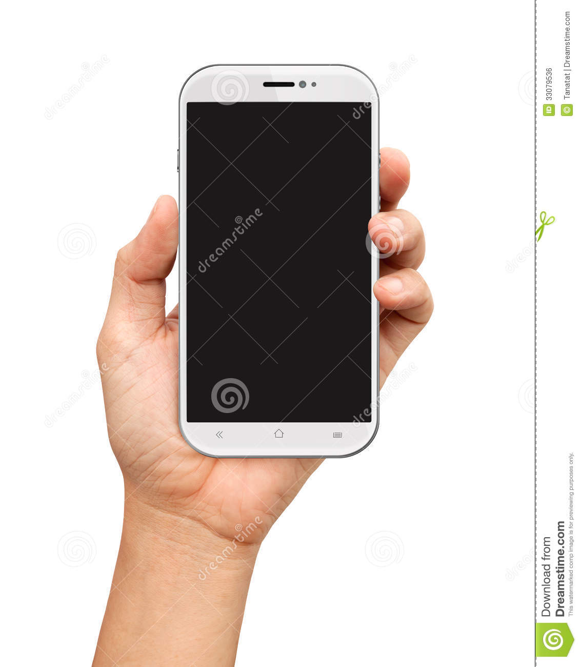 Hand Holding White Smartphone With Blank Screen On White Royalty Free ...