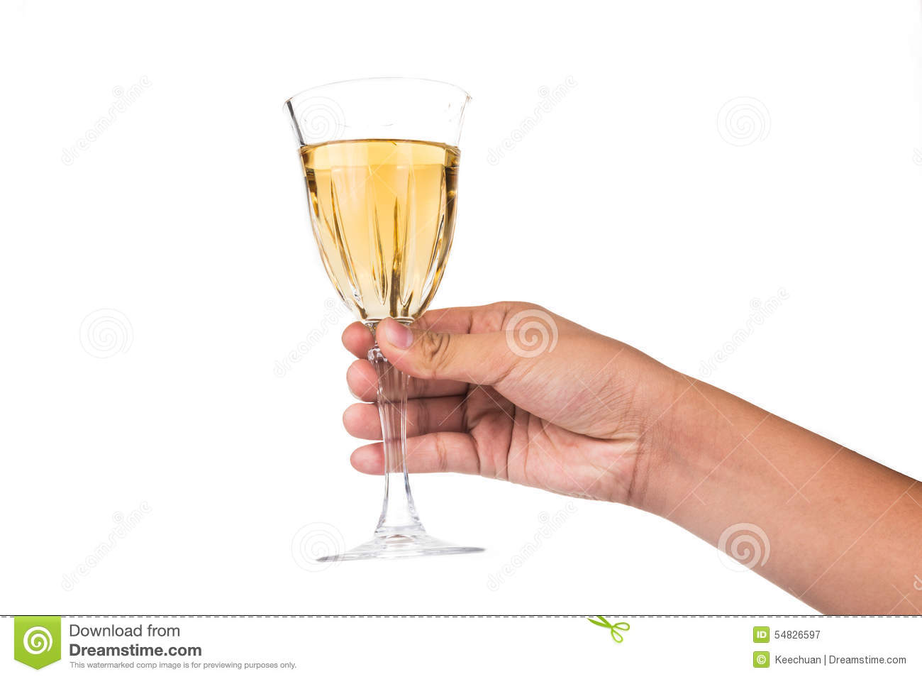 Hand Holding White Wine In Crystal Glass And Ready To