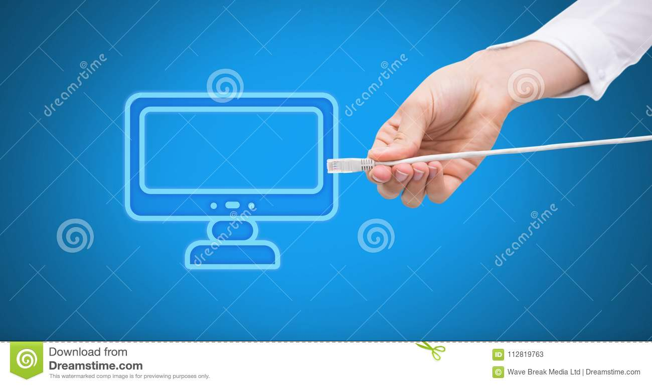 Hand Holding Wire Connection With Computer Icon Stock Image - Image ...
