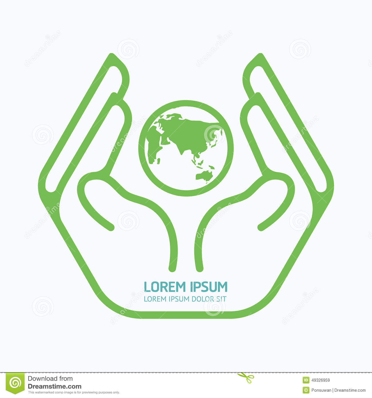 hand holding world.logo design,safety care concept. stock vector