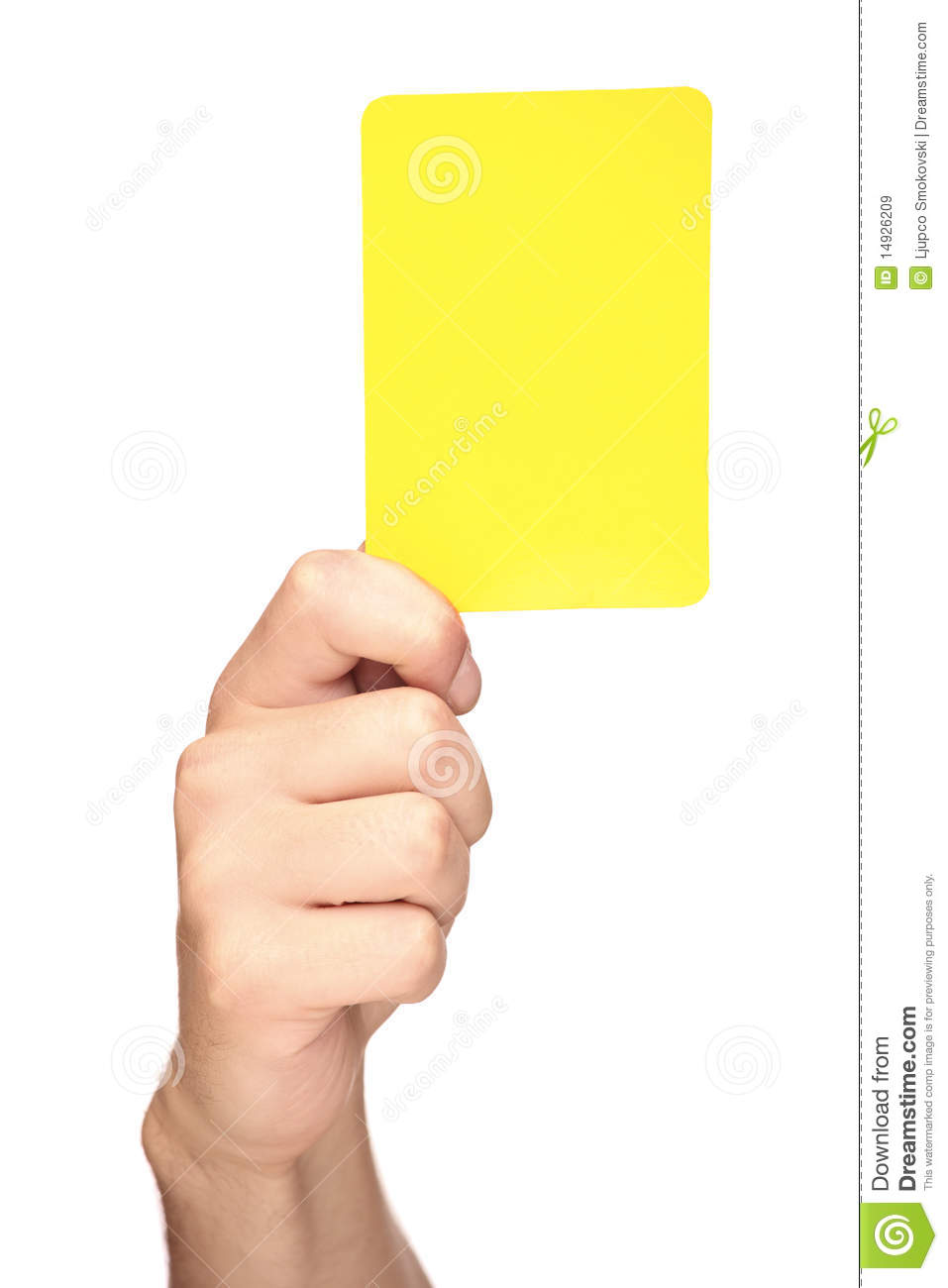 Hand Holding A Yellow Card Royalty Free Stock Images - Image: 14926209