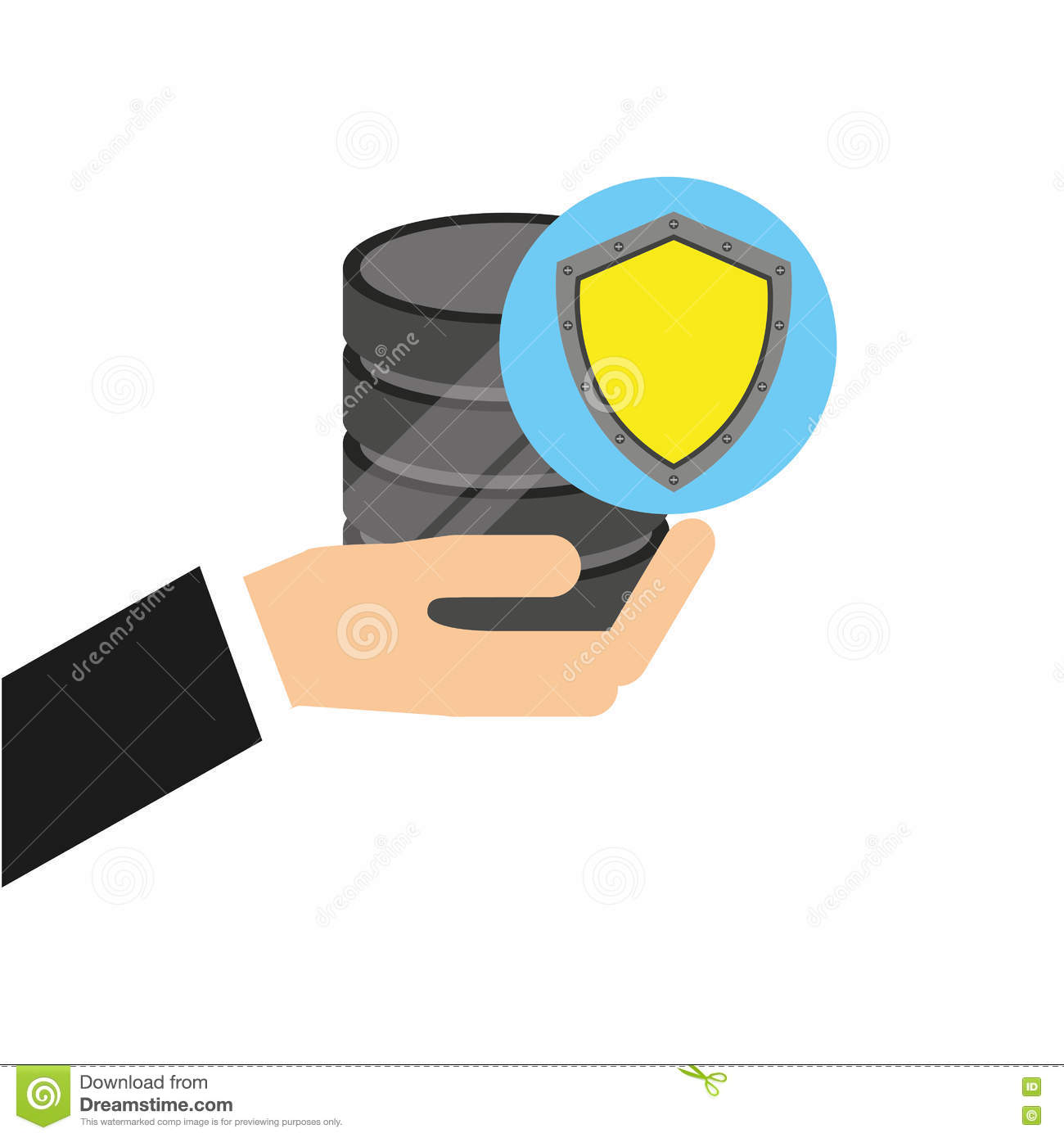 Hand holds data shiled protection icon