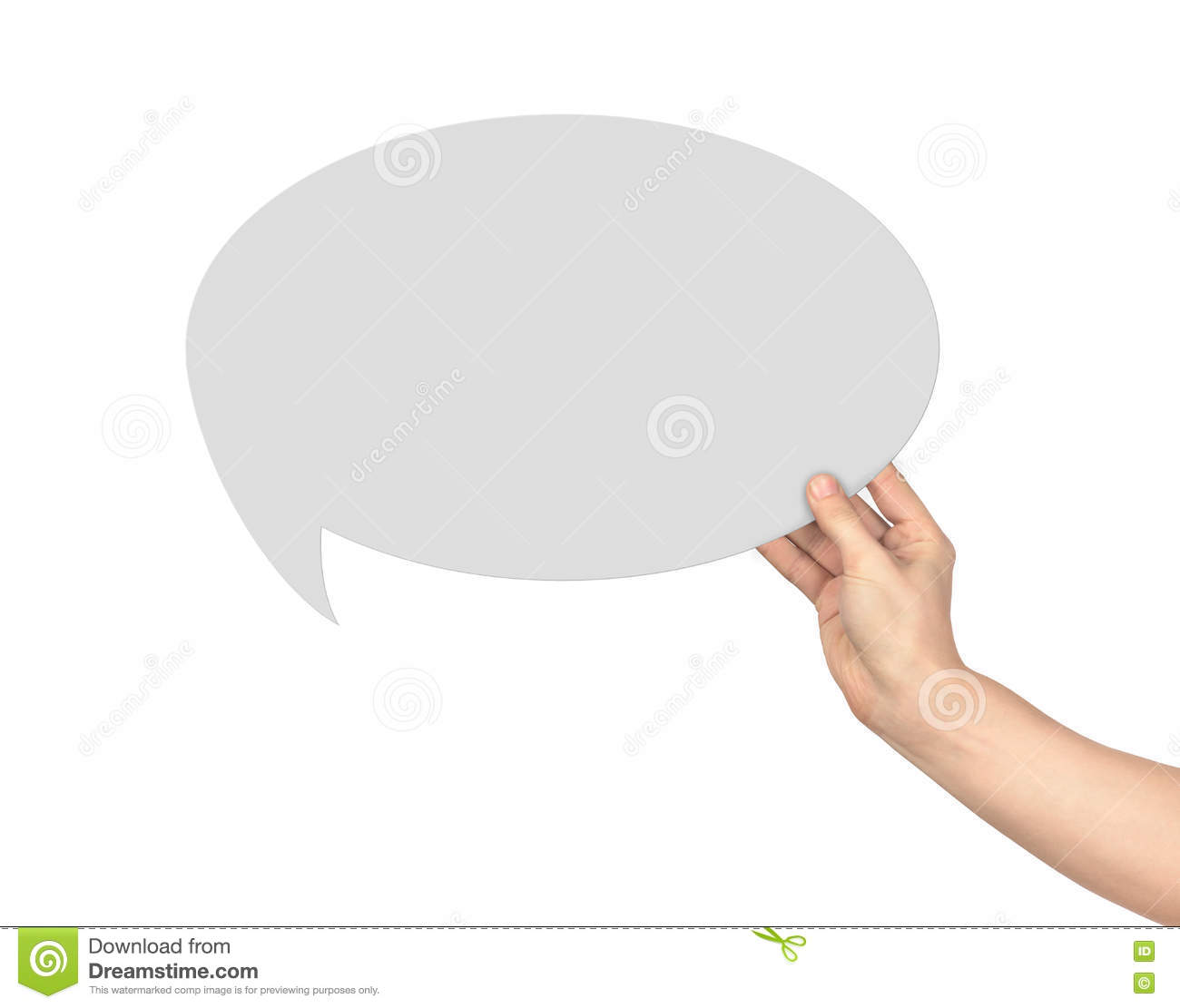 The hand holds a dialogue