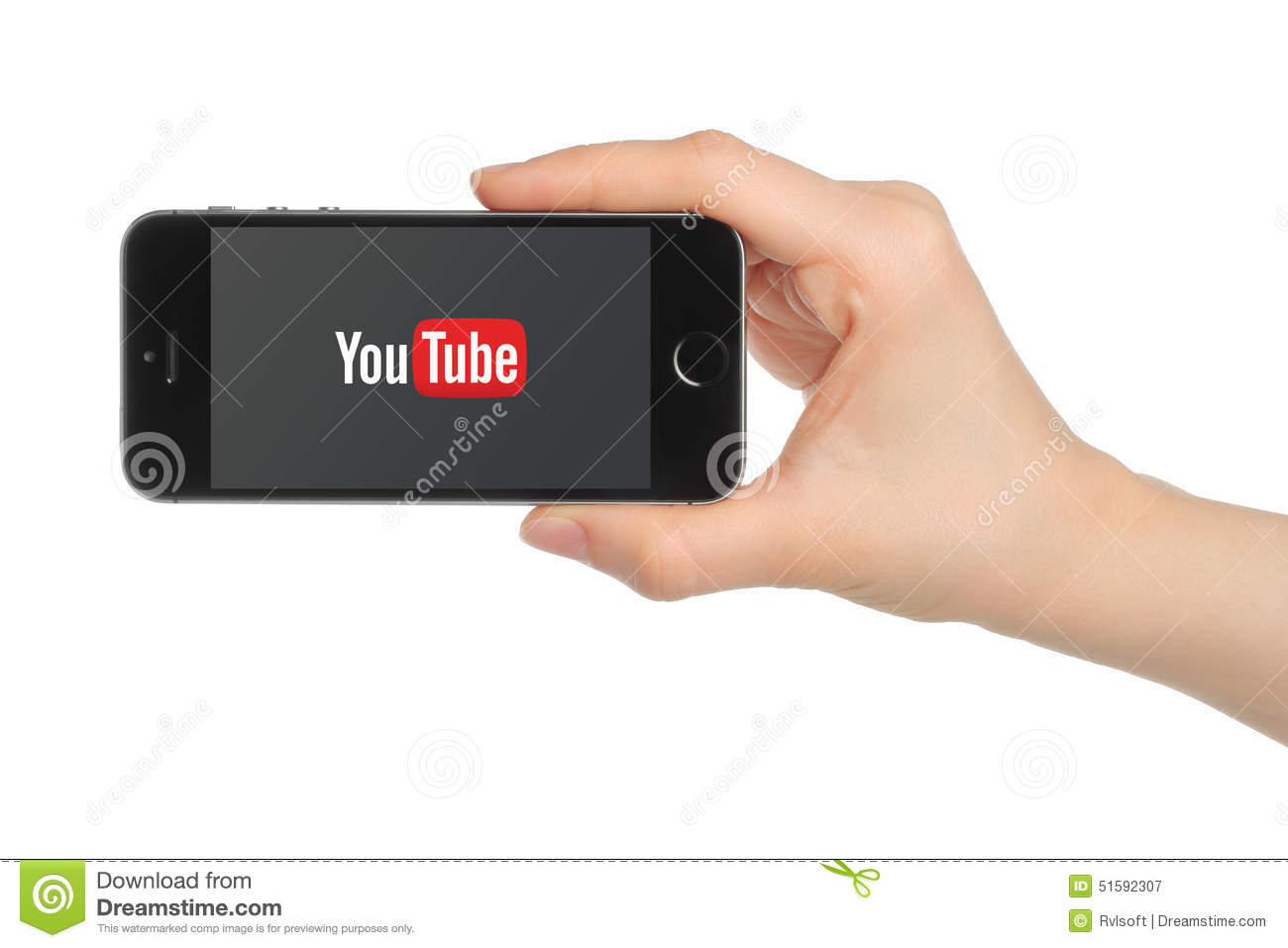Hand holds iPhone 5s Space Gray with YouTube logo on white background