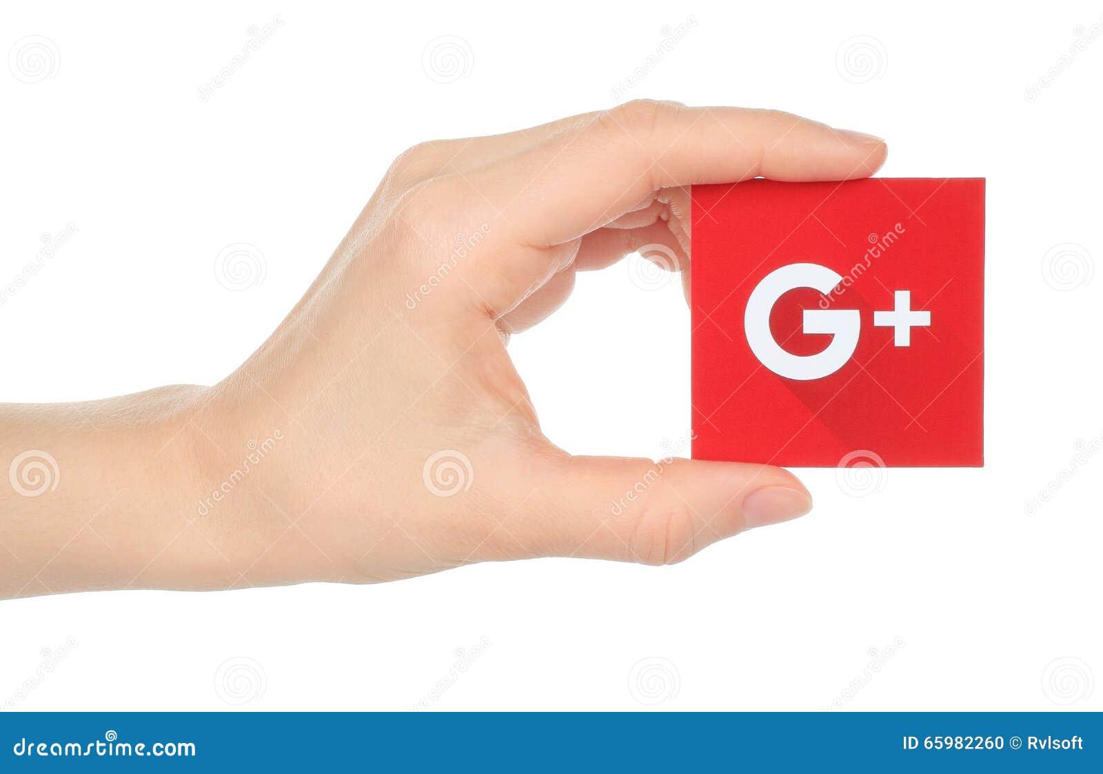 Hand holds new Google plus logotype