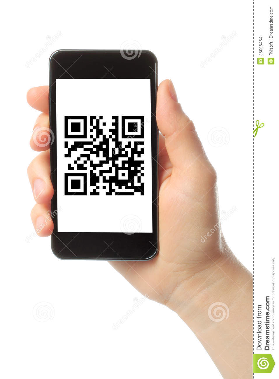 Hand Holds Smart Phone With QR Code Stock Photo Image