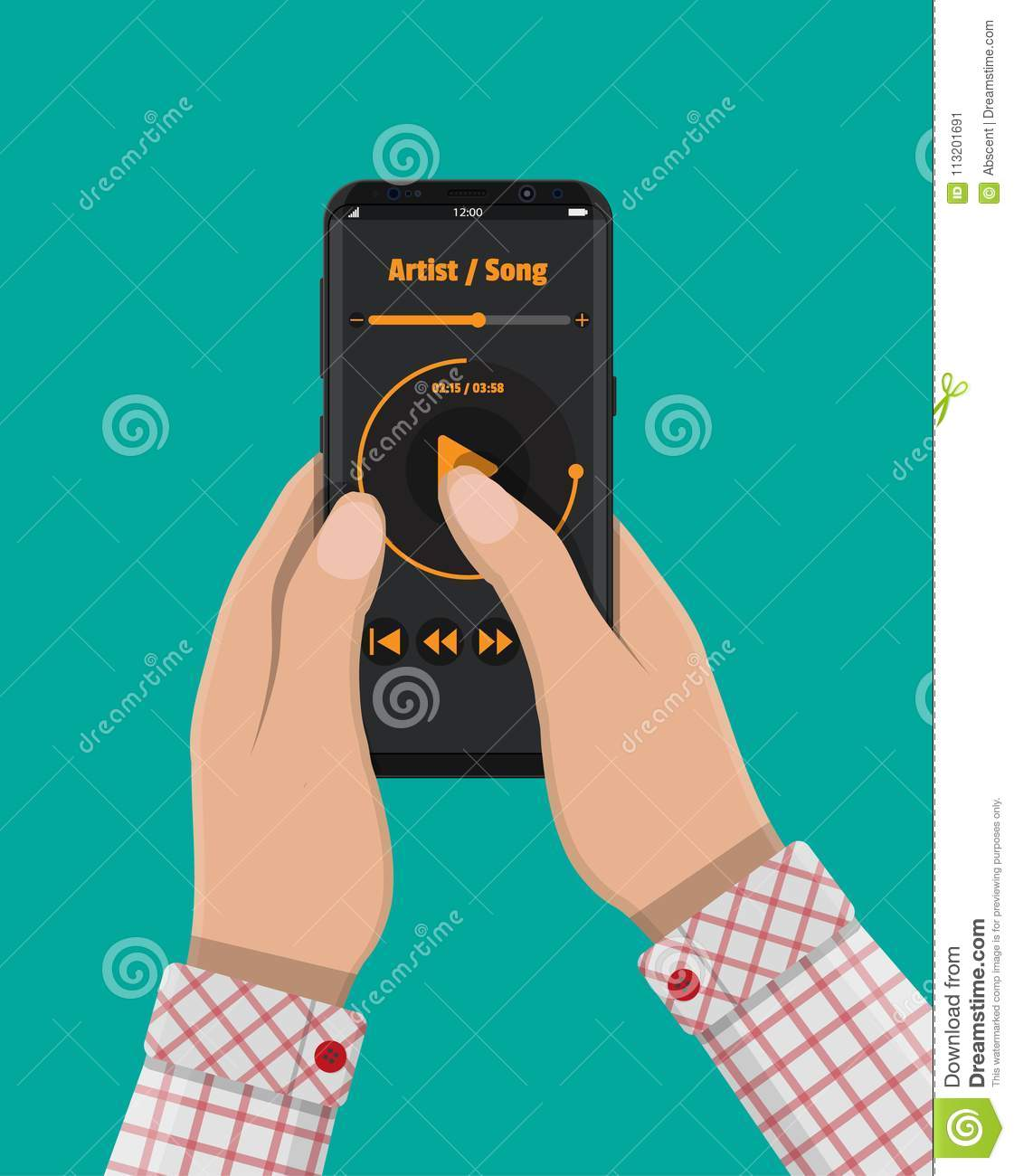 Hand Holds Smartphone With Music Player  Stock Vector - Illustration