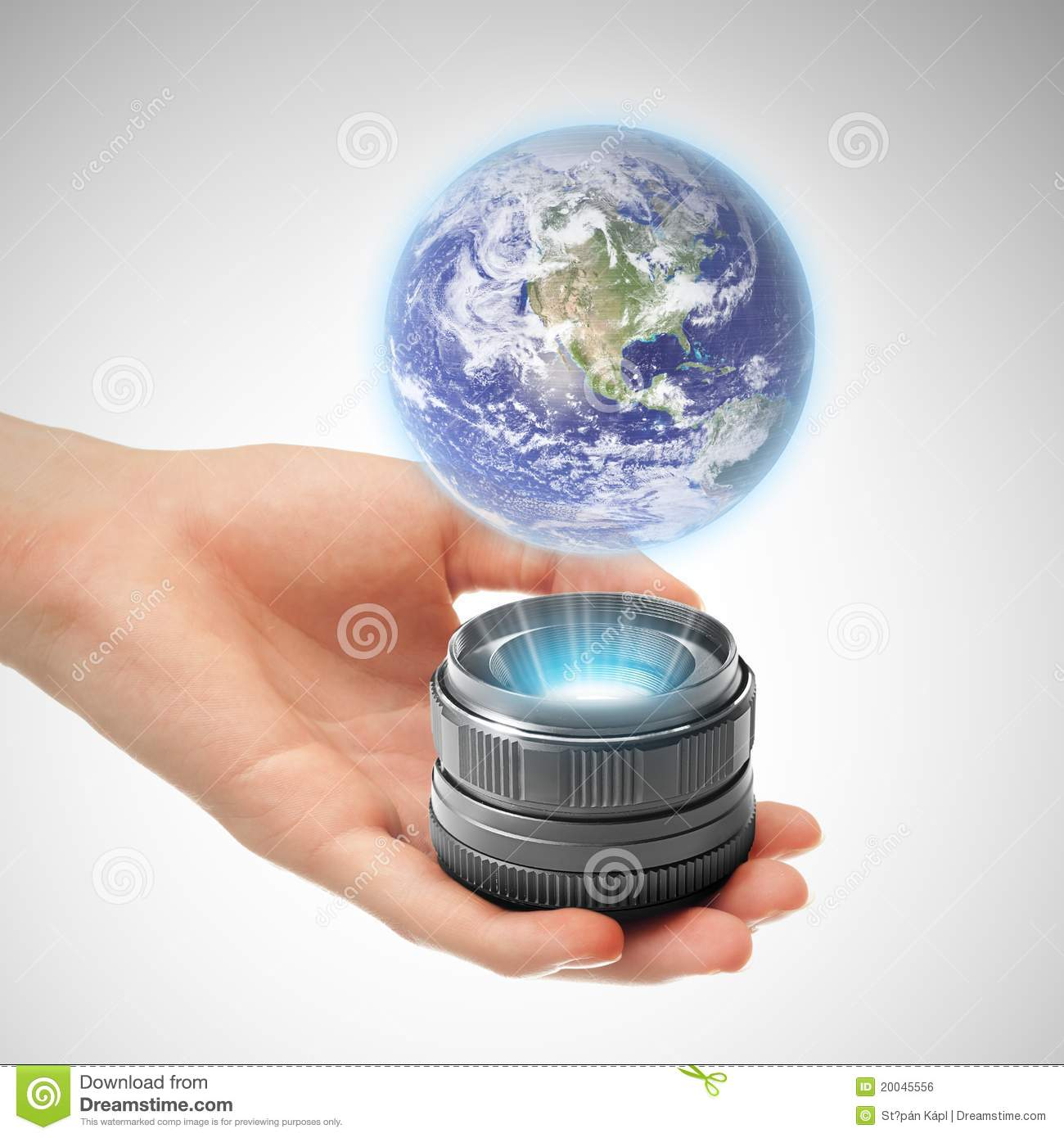 ... With Holographic Projector Royalty Free Stock Image - Image: 20045556