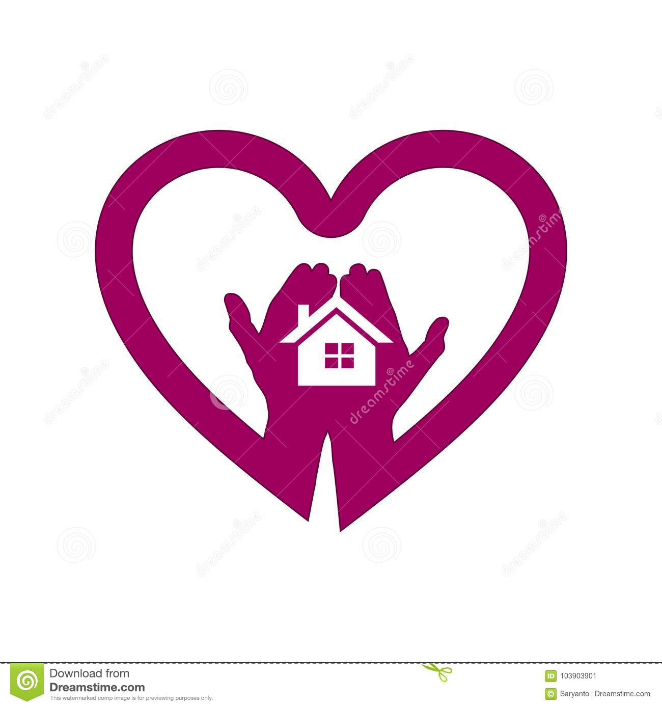 Hand With House In Heart Icon Logo Stock Vector - Illustration of ...