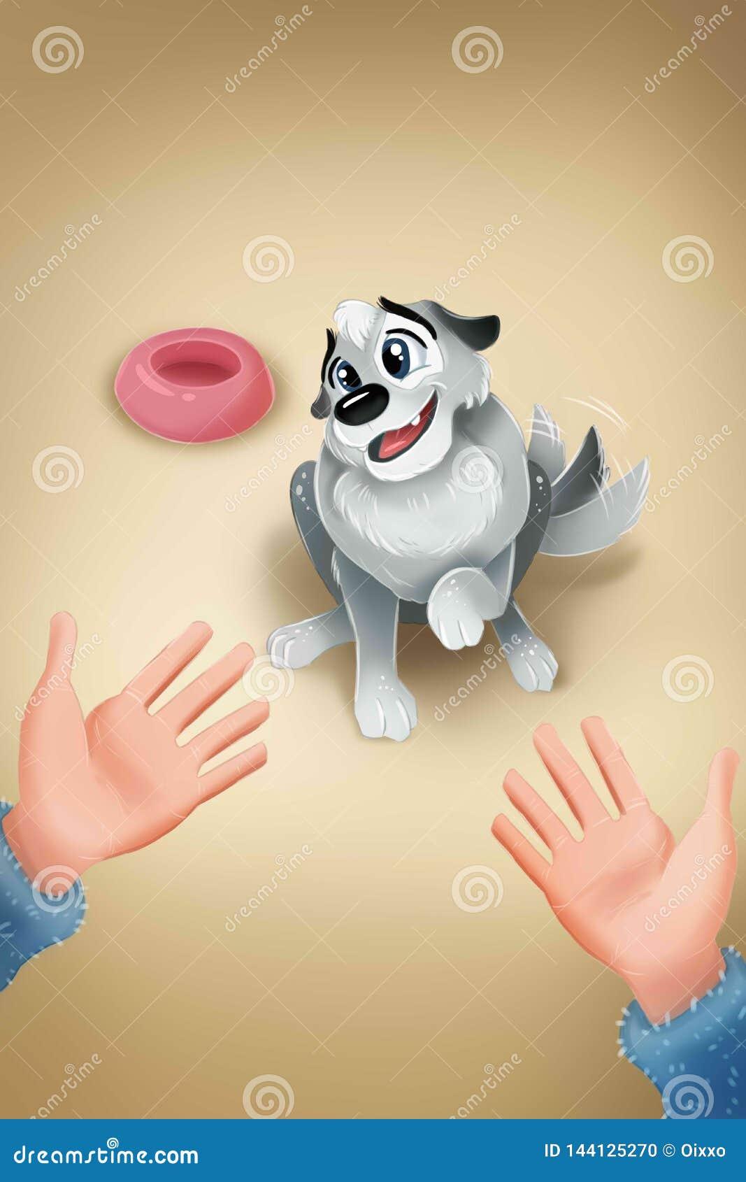 Hand i en öppen gest som möter en gullig valphund