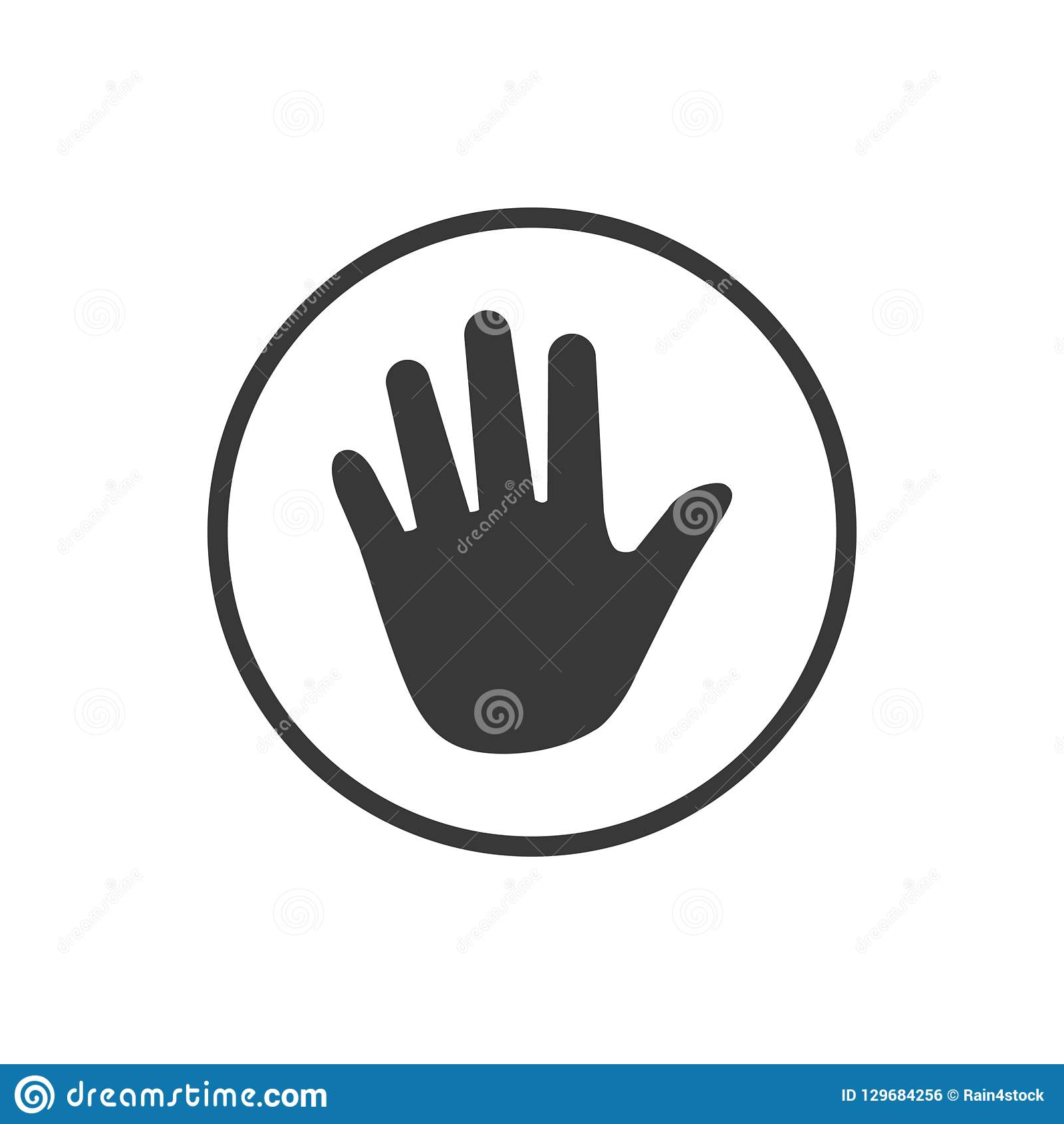 Hand icon in circle . Vector illustration isolated on white background.