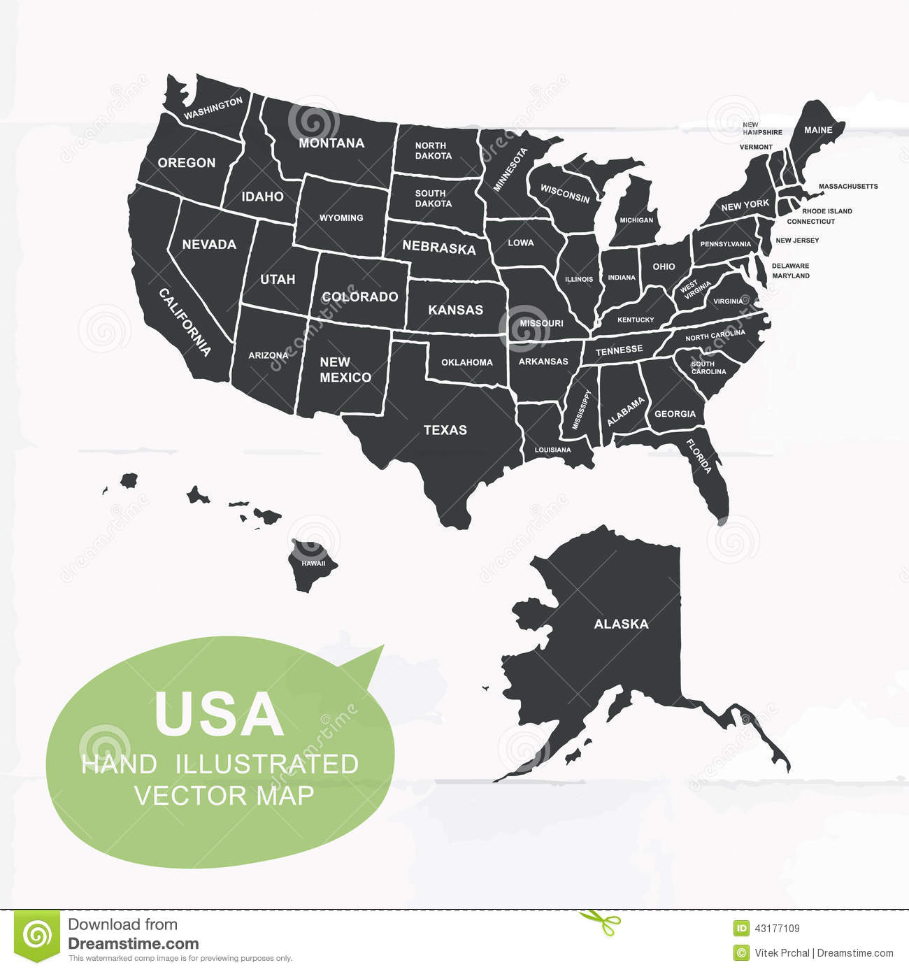 Hand Illustrated Vector Map Of United States Stock Vector Image - Map of united states download