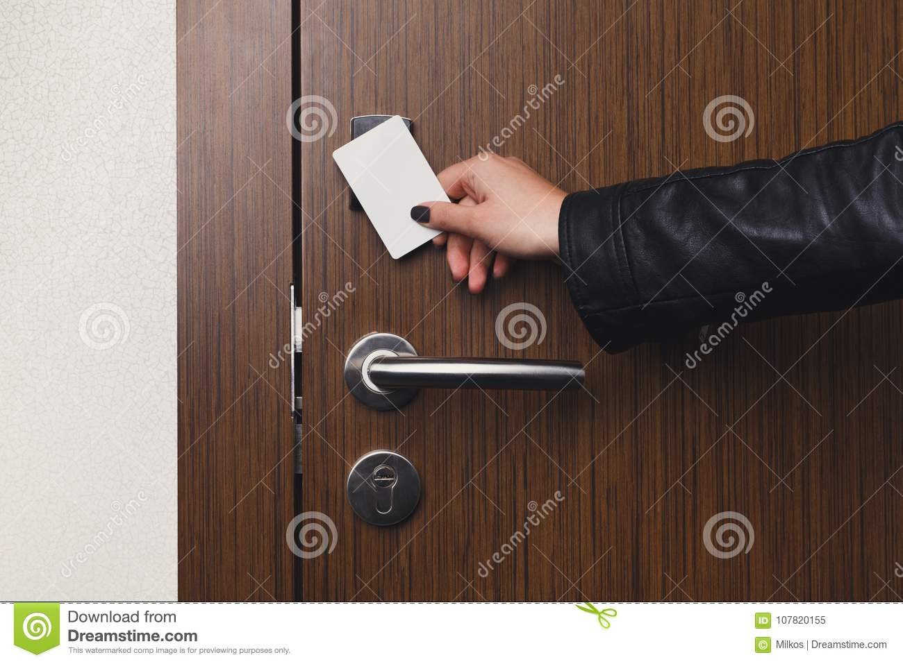 Hand Inserting Key Card In Electronic Lock Stock Image - Image of