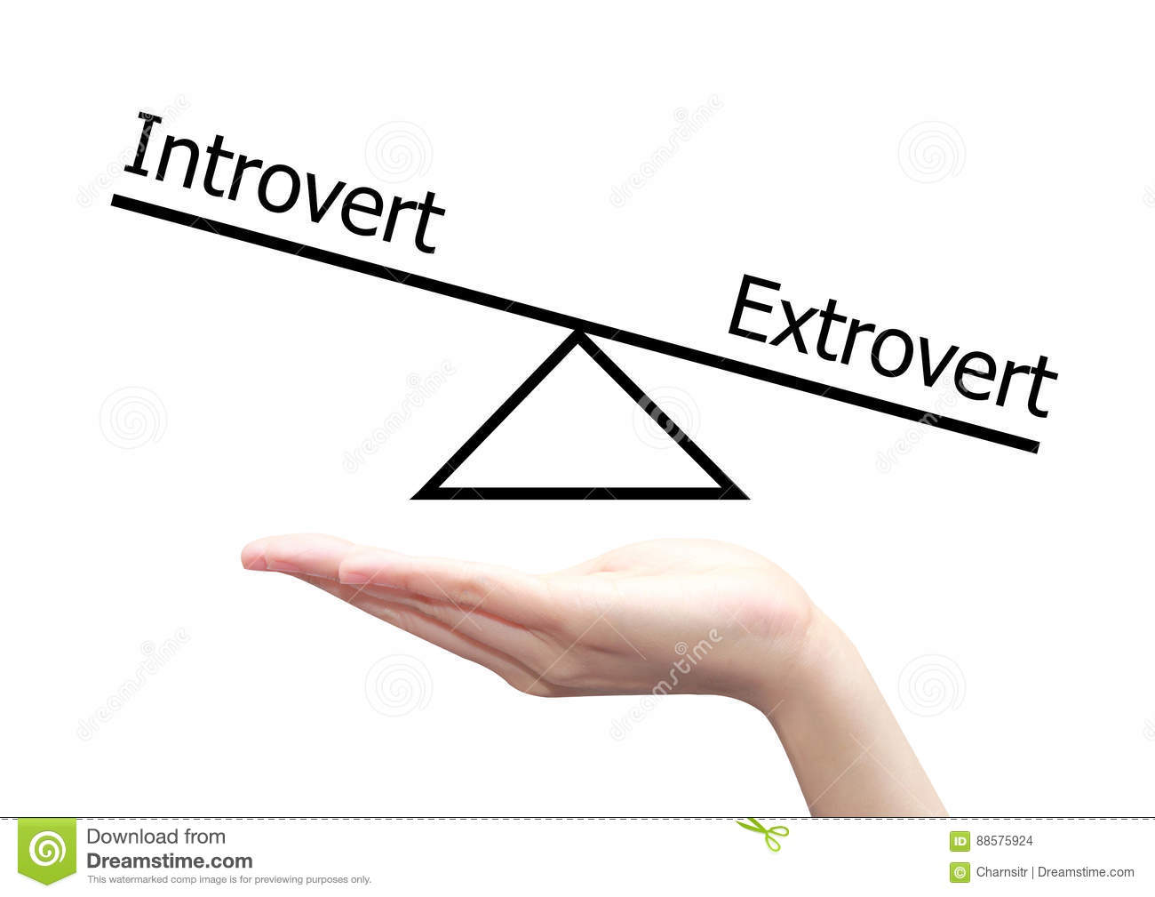 Hand with introvert and extrovert concept