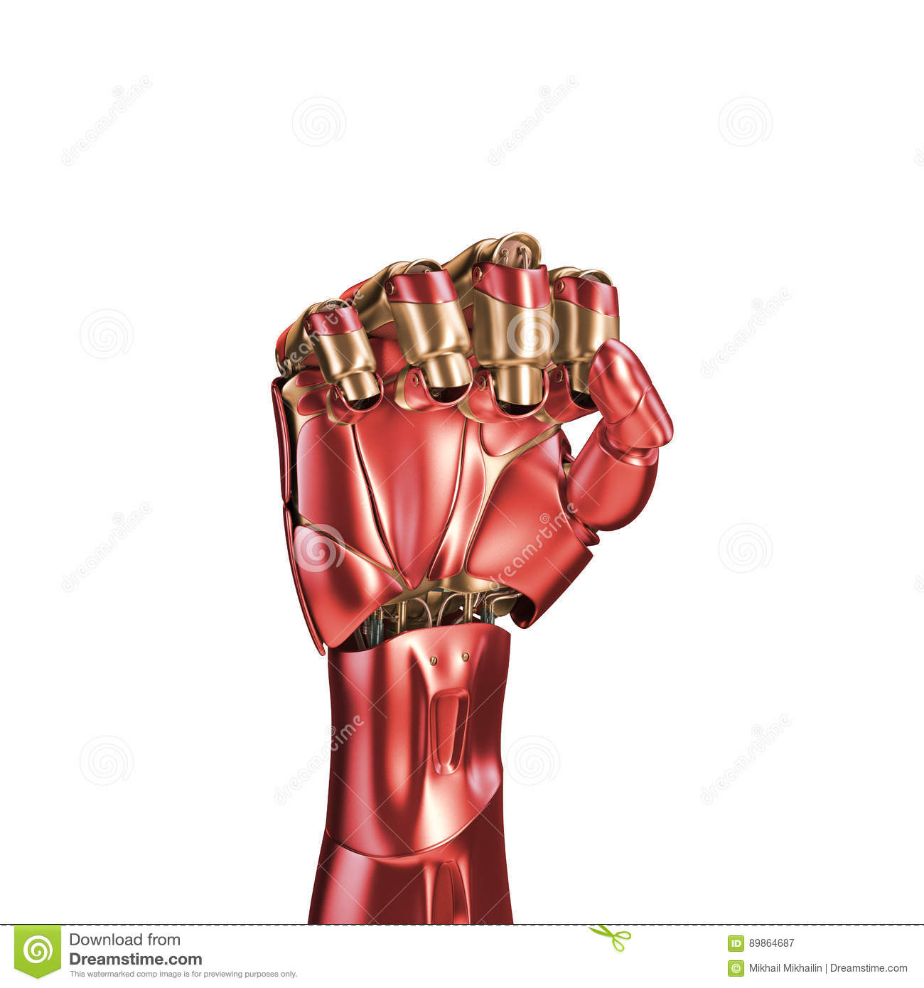 The Arm Of An Iron Man Red And Gold Coloring 3d Rendering Template Isolated On White Background