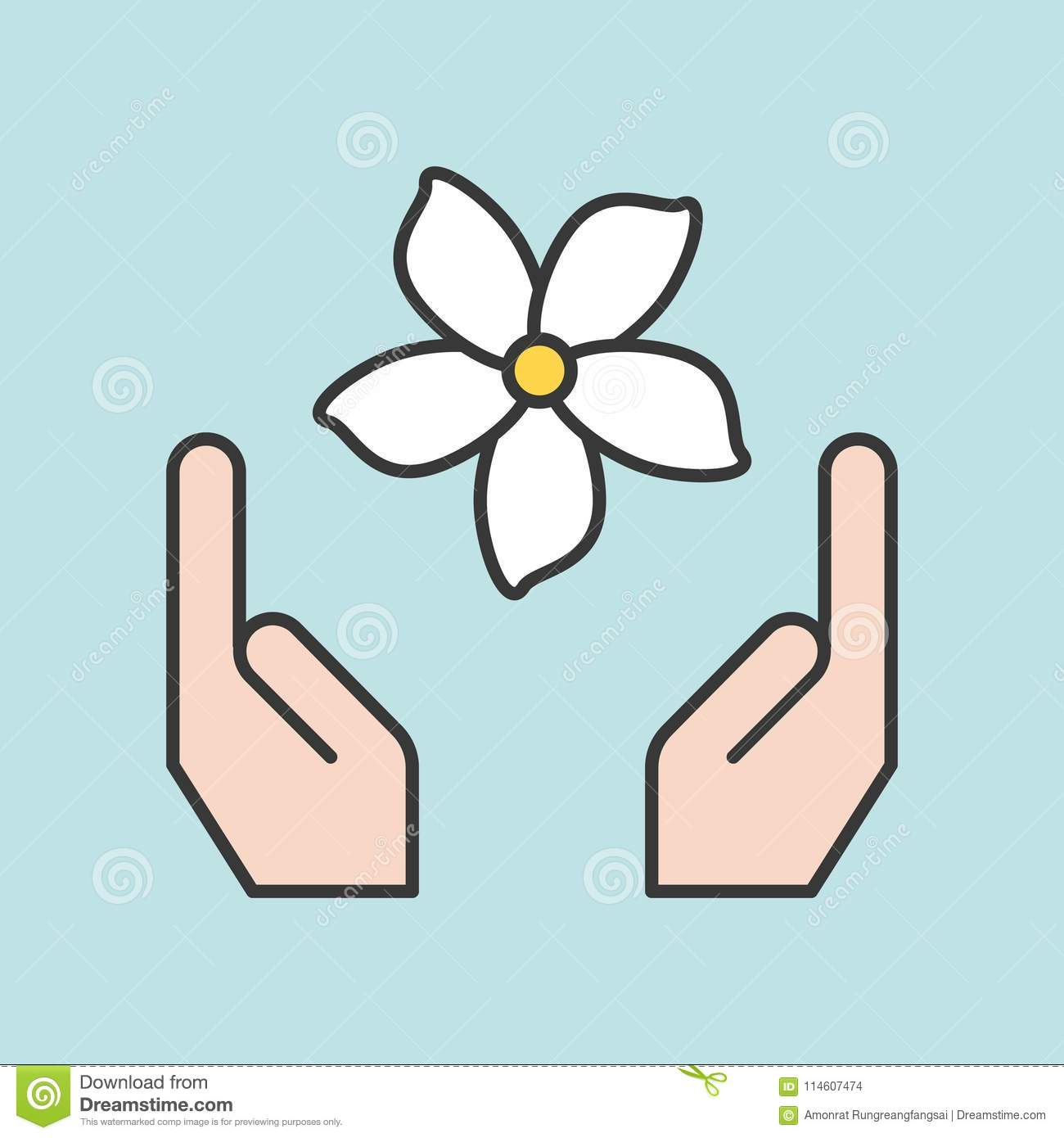 Hand And Jasmine Flower Stock Vector Illustration Of Floral 114607474