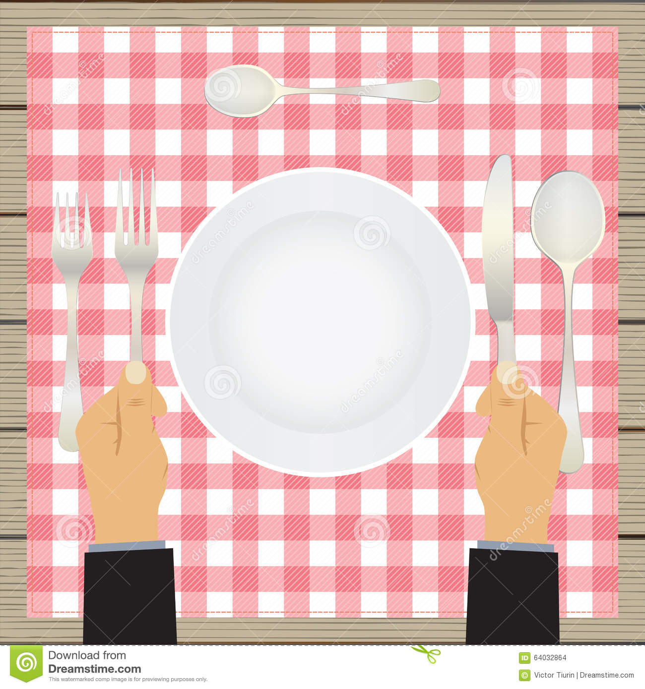 Hand with a knife and fork. Tableware.